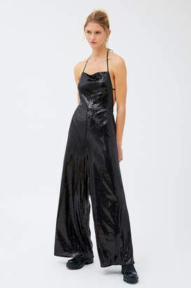 Urban Outfitters Elwood Sequin Backless Halter Jumpsuit