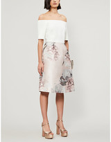 Ted Baker Cathiey Woodland-jacquard off-the-shoulder woven mini dress