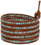 Chan Luu Turquoise Mix of Semi Precious Stones Leather Brown Wrap Bracelet