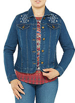 Allison Daley Embroidered Button Front Denim Jacket