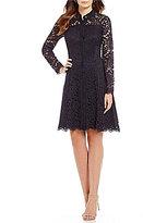 London Times Illusion Lace Shirt Dress