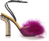 Marco De Vincenzo Feather-embellished satin sandals