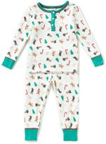 Starting Out Little Girls 2T-4T Christmas Henley Long-Sleeve Top & Pants Pajama Set