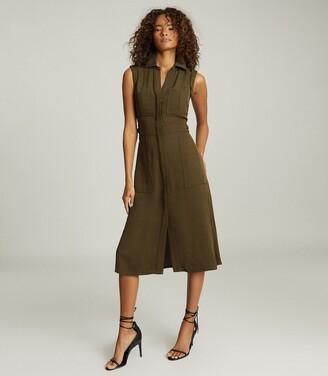 Reiss Effie - Utility Shirt Midi Dress in Khaki