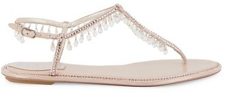 Rene Caovilla Chandelier Crystal-Embellished Satin T-Strap Sandals
