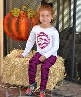 Beary Basics White & Purple Bat Tunic & Leggings - Toddler & Girls
