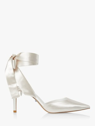 Dune Bridal Collection Daliah Satin Ankle Tie Court Shoes, Ivory