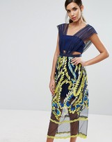 Three floor Midi Dress with Embroided Skirt