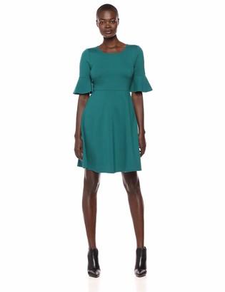 Lark & Ro Women's Ruffle Sleeve Fit and Flare Dress