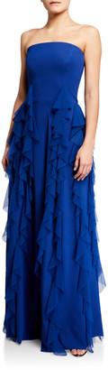Chiara Boni Tube Top Ruffle-Detail Jersey Gown