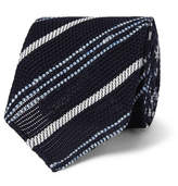 Drakes Drake's 8cm Striped Silk And Linen-blend Tie