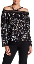 Nicole Miller Crochet Trim Cold Shoulder Silk Blouse
