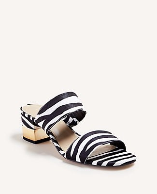 Ann Taylor Liv Zebra Print Block Heel Sandals