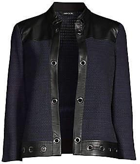 Misook Women's Tweed & Faux Leather Jacket