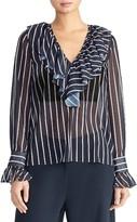 Rachel Roy Stripe Ruffle Long Sleeve Blouse