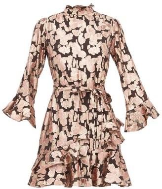 Saloni Marissa Metallic Fil Coupe Silk Blend Dress - Womens - Black Pink