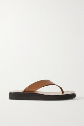 The Row Ginza Leather Platform Flip Flops - Sand