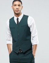 Asos Slim Waistcoat With Stretch In Dark Green