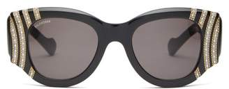 Balenciaga Crystal And Chain-bead Round Acetate Sunglasses - Womens - Black Gold