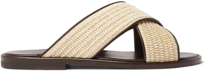 Thumbnail for your product : Manolo Blahnik Otawi Woven Raffia And Leather Sandals