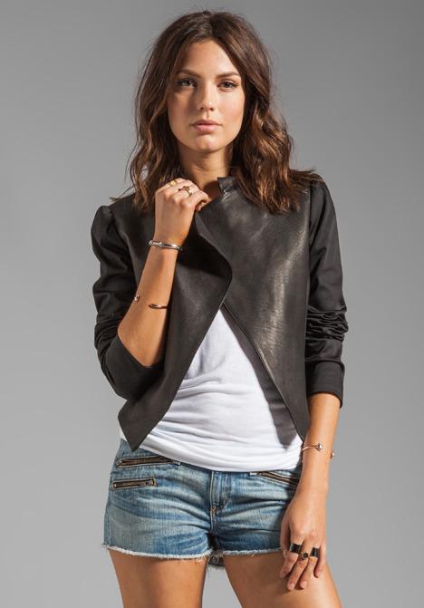 Alice + Olivia Luzia Moto Blazer with Leather Combo