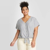 Universal Thread Women's Plus Size Striped Short Sleeve Tie Front Top - Universal ThreadTM Navy