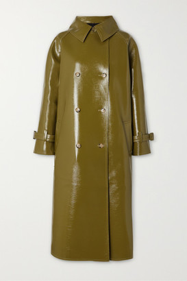 Frankie Shop - Oversized Double-breasted Glossed Faux Textured-leather Trench Coat - Green