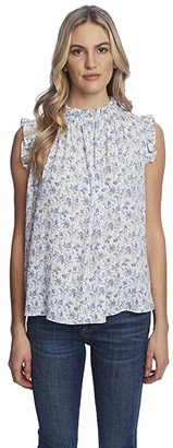 CeCe Sleeveless Ruffled Toile Vines Blouse (Soft Ecru) Women's Clothing
