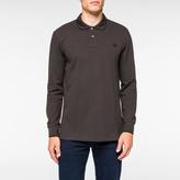 Paul Smith Men's Charcoal Grey PS Logo Long-Sleeve Organic-Cotton Polo Shirt