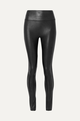 Spanx Faux Stretch-leather Leggings - Black
