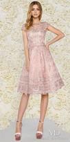 Mac Duggal Knee Length Lace Bateau Cap Sleeve Cocktail Dress