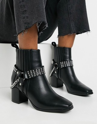 Lamoda square toe harness boots in black