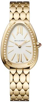 Bvlgari Yellow Gold and Diamond Serpenti Seduttori Watch 33mm