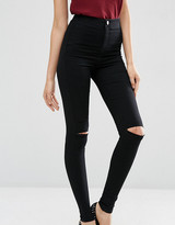 Thumbnail for your product : ASOS Tall ASOS TALL Rivington Denim High Waist Jeggings In Black with Two Ripped Knees