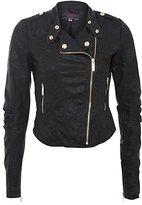 Black Gold Zip Biker Jacket