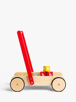 John Lewis & Partners Wooden Baby Walker and Bricks