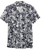Todd Snyder Short Sleeve Navy Floral Convertible Collar Shirt