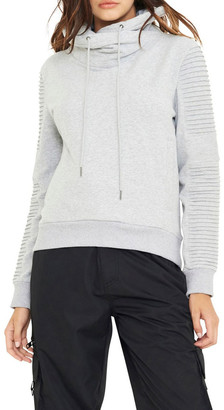 nANA jUDY Adeline Funnel Neck Crop Sweater With Pin-Tuck Sleve