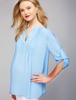 Bcbgmaxazria Pleated Convertible Sleeve Maternity Blouse