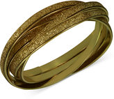 GUESS Gold-Tone Interlocking Glitter Bangle