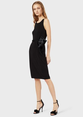 Emporio Armani Tube Dress In Crepe-Effect Fabric With Satin Bow