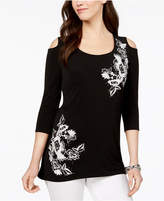 JM Collection Cold-Shoulder Appliqué Tunic, Created for Macy's