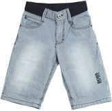 HUGO BOSS Striped Cotton Denim Shorts