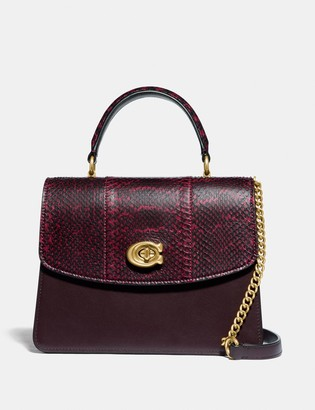 Coach Parker Top Handle In Blocked Snakeskin