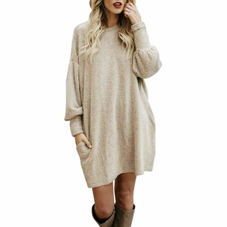 Aiserkly Women's Winter Jumper Oversized Loose Casual Crew Neck Batwing Sleeve Warm Pullover Knitted Wool Jumper Knitwear Dress Tops Beige M