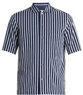 MAISON KITSUNÉ Short-sleeved fil-coupé striped cotton shirt