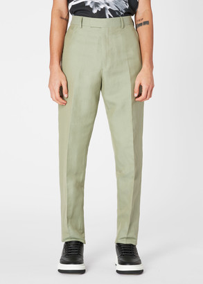 Paul Smith Men's Tapered-Fit Pistachio Cotton And Silk-Blend Pants