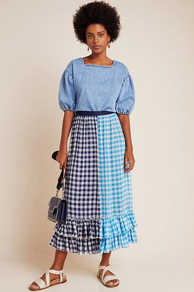 Eva Franco Gigi Ruffled Gingham Maxi Skirt By in Blue Size XS