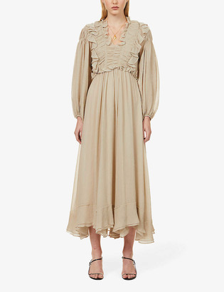 Ssone Spirit frilled crepe maxi dress