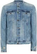 Topman Blue Collarless Denim Jacket